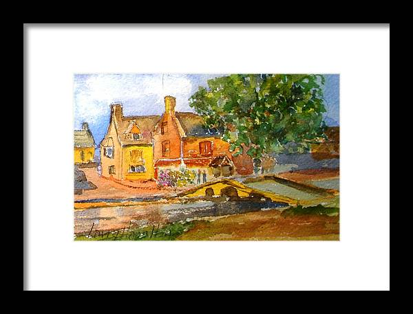 Watercolor Framed Print featuring the painting Cotswolds Town Study by Larry Hamilton