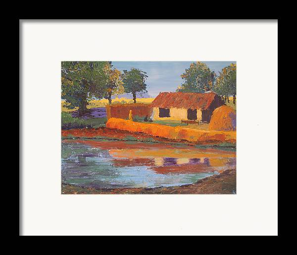 Cottage Framed Print featuring the painting Cottage By The Pond by Art Nomad Sandra Hansen