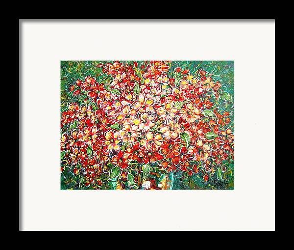 Flowers Framed Print featuring the painting Cottage Garden Flowers by Natalie Holland