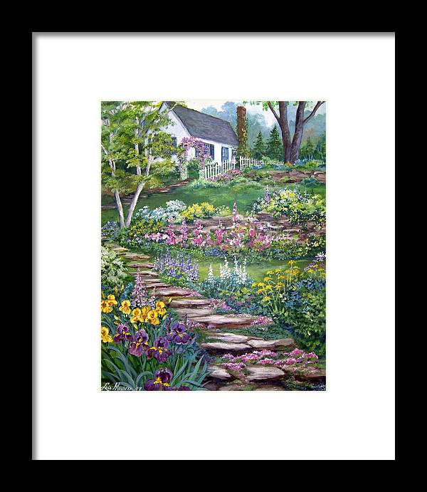 Landscape;cottage;white House;picket Fence;birch Tree;gardens;iris;stone Walk;rock Path;archway; Framed Print featuring the painting Cottage On The Hilltop by Lois Mountz