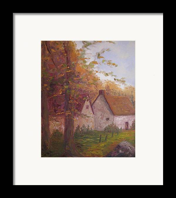 Landscape Framed Print featuring the painting Cottage On The Moors by Belinda Consten