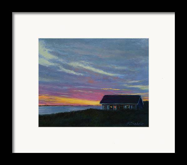 Landscape Framed Print featuring the painting Cottage With A View by Phyllis Tarlow