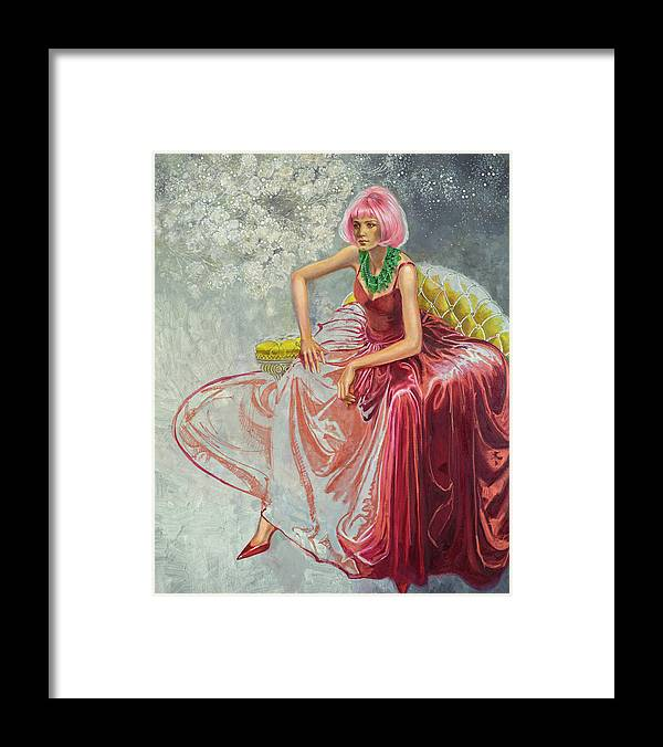 Fashion Illustration Framed Print featuring the painting Cotton Candy by Barbara Tyler Ahlfield