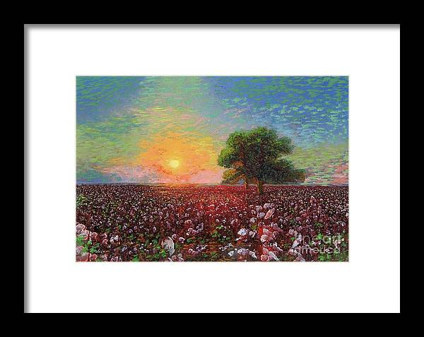 Meadow Framed Print featuring the painting Cotton Field Sunset by Jane Small