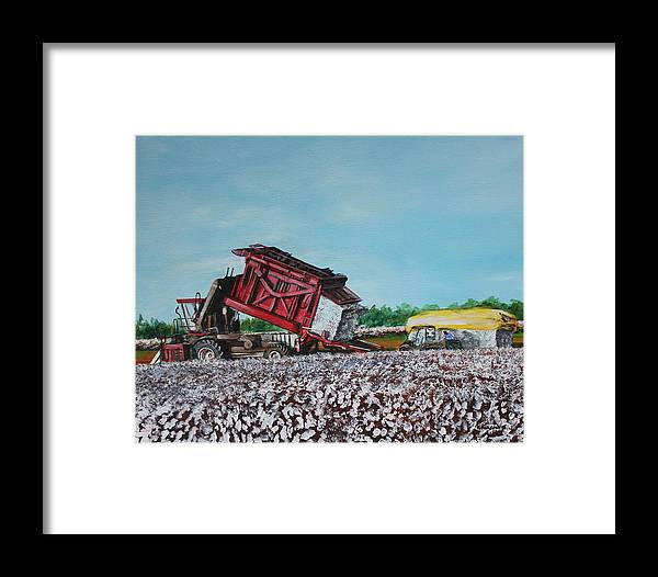 Cotton Framed Print featuring the painting Cotton Pickin' Business by Karl Wagner