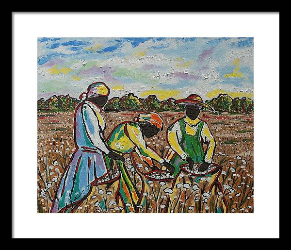 Framed Print featuring the painting Cotton Pickin by Johnny Goolsby