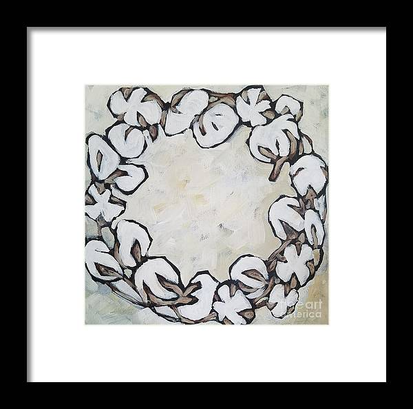Cotton South Wreath Botanical Framed Print featuring the painting Cotton Wreath by Lora McGowan
