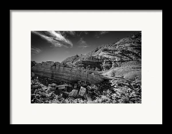 Beautiful Photos Framed Print featuring the photograph Cottonwood Creek Strange Rocks 3 Bw by Roger Snyder