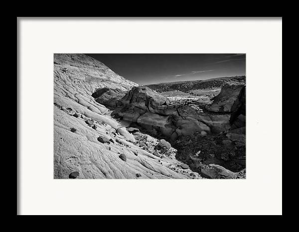 Beautiful Photos Framed Print featuring the photograph Cottonwood Creek Strange Rocks 7 Bw by Roger Snyder