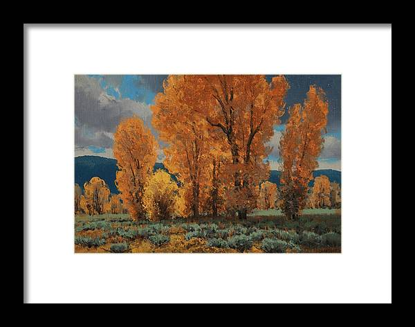 Framed Print featuring the painting Cottonwood Glory by Lanny Grant