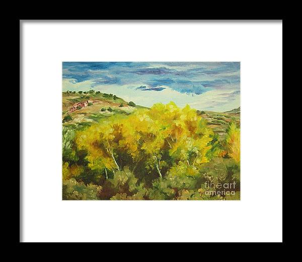 Landscape Framed Print featuring the painting Cottonwoods by Theresa Higby