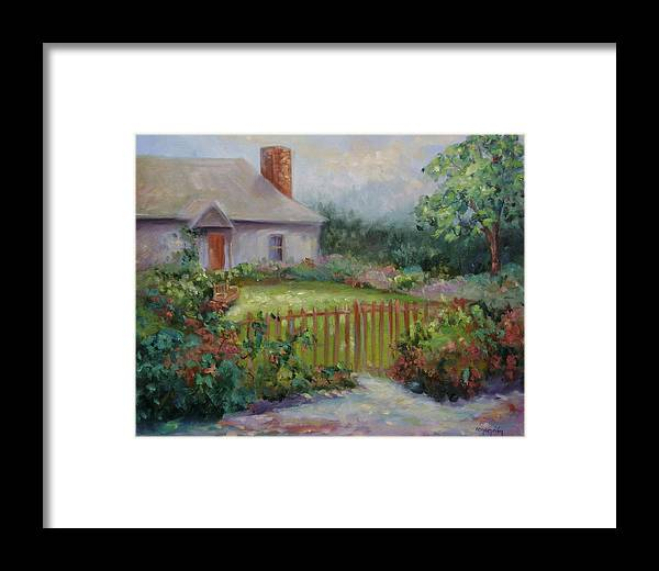 Cottswold Framed Print featuring the painting Cottswold Cottage by Ginger Concepcion
