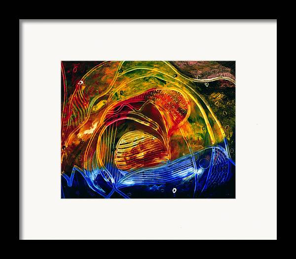 Abstract Framed Print featuring the painting Coucher De Soleil by Dominique Boutaud