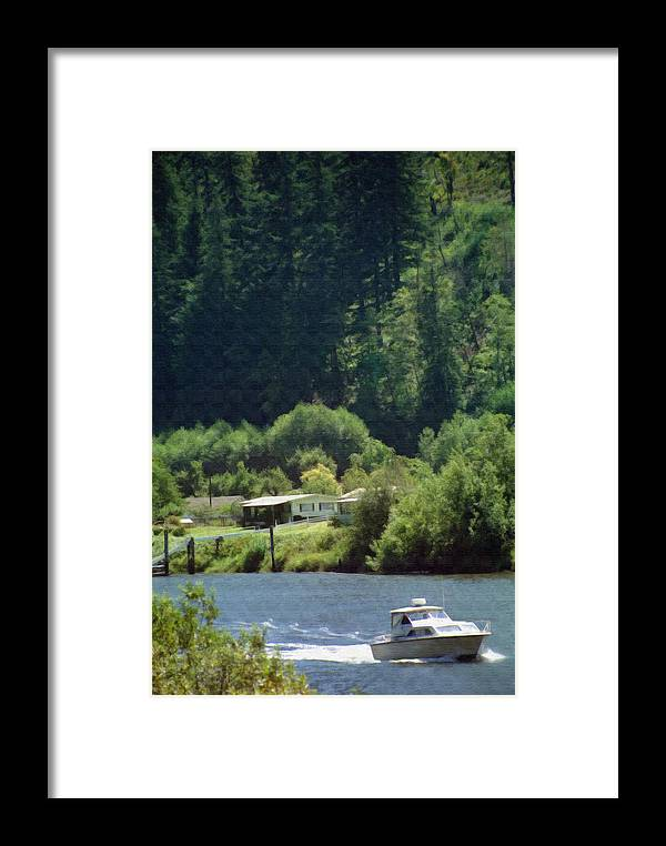 Boat Framed Print featuring the photograph Couer D' Alene Power Boating by Steve Ohlsen