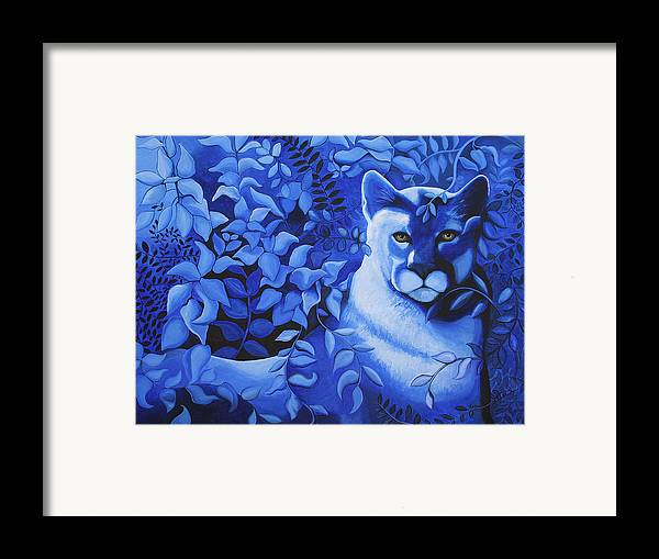 Cougar Framed Print featuring the painting Cougar by Bonnie Kelso