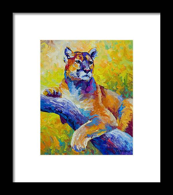 Mountain Lion Framed Print featuring the painting Cougar Portrait I by Marion Rose