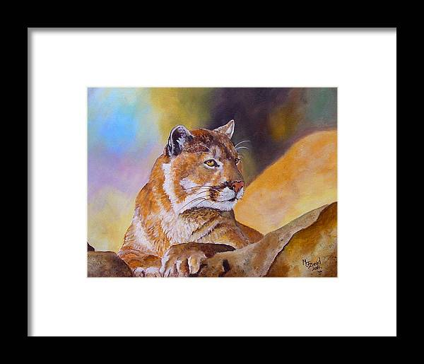 Cougar Framed Print featuring the painting Cougar Wildlife by Mary Jo Zorad