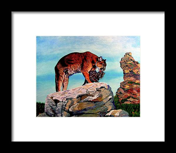 Cougar Framed Print featuring the painting Cougars Mother And Cub by Stan Hamilton