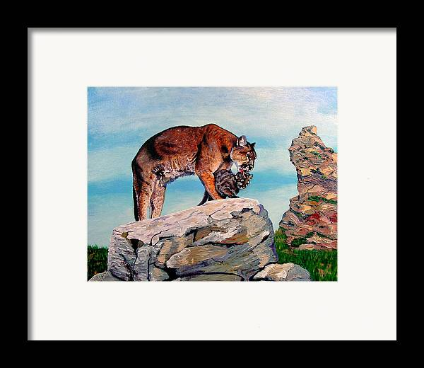 Original Oil On Canvas Framed Print featuring the painting Cougars by Stan Hamilton
