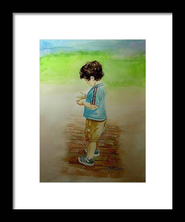 Children Framed Print featuring the painting Counting by JoAnne Castelli-Castor