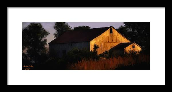Landscape Framed Print featuring the digital art Country Barn by Brian Fisher