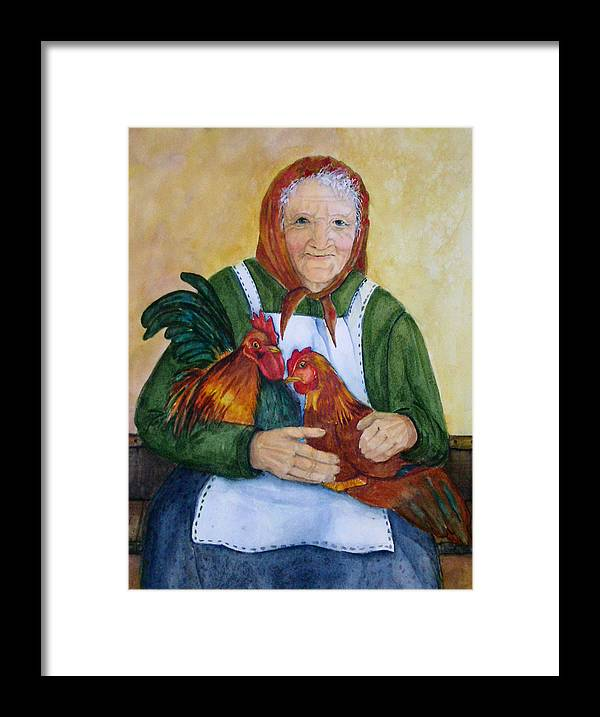 Old Lady Framed Print featuring the painting Country Chickens by Gina Hall