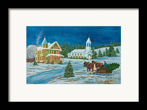 Winter Scene Paintings Framed Print featuring the painting Country Christmas by Charlotte Blanchard