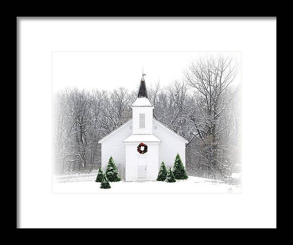 Church Framed Print featuring the photograph Country Christmas Church by Carol Sweetwood