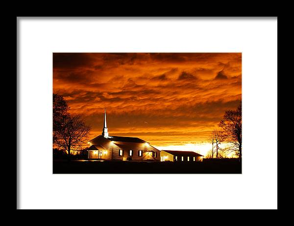 Sunset Framed Print featuring the photograph Country Church Sundown by Keith Bridgman