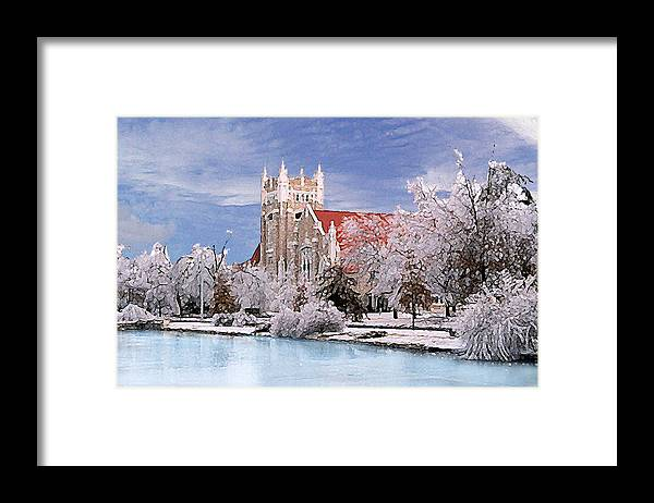 Winter Framed Print featuring the photograph Country Club Christian Church by Steve Karol