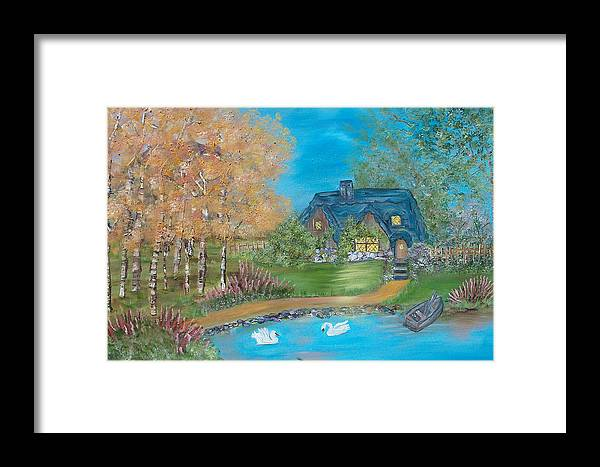 Cottage Framed Print featuring the painting Country Cottage by Mikki Alhart