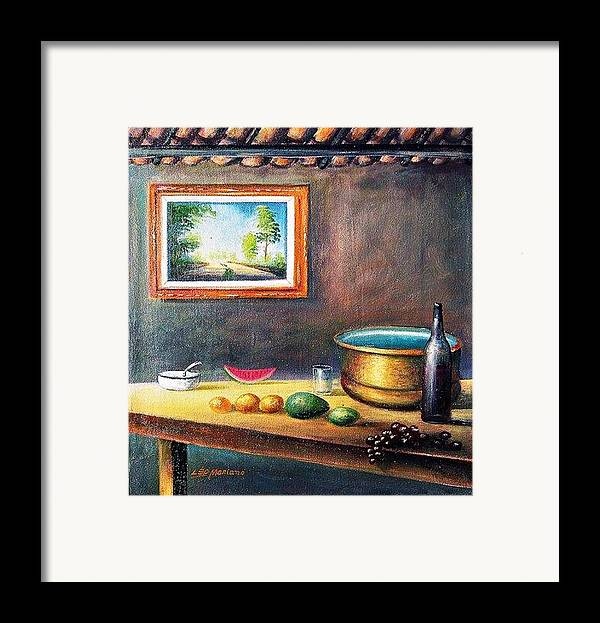 Natureza Morta Framed Print featuring the painting Country House by Leomariano artist BRASIL