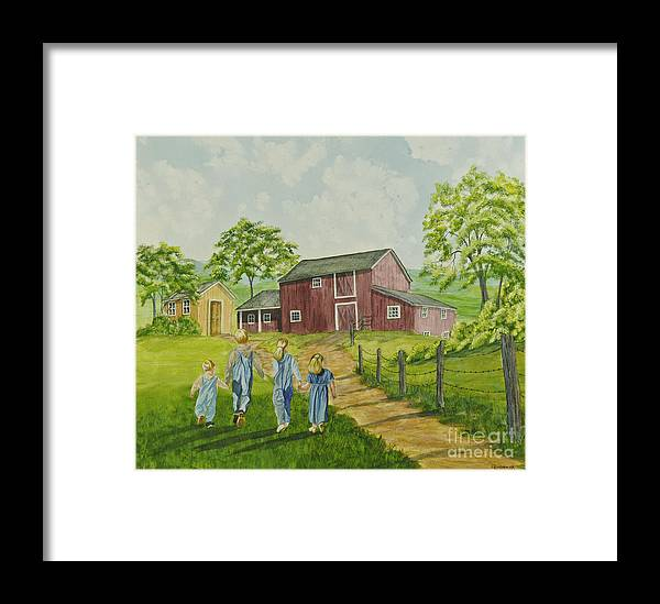 Country Kids Art Framed Print featuring the painting Country Kids by Charlotte Blanchard