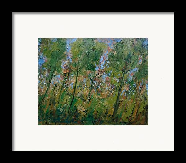 Trees Framed Print featuring the painting Country Landscape by Mario Zampedroni