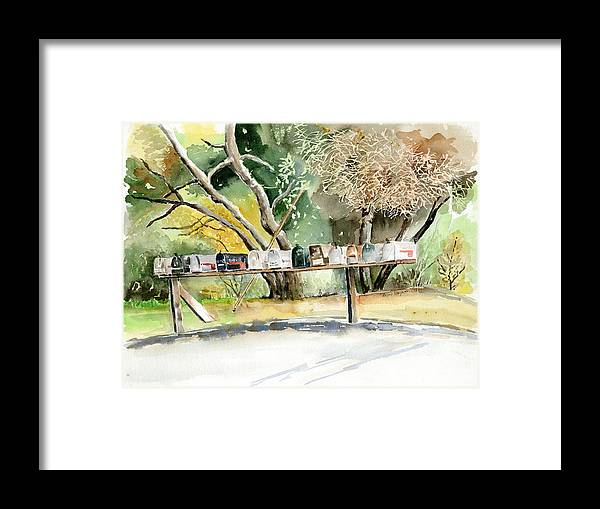Mailboxes Framed Print featuring the painting Country Mailboxes by Arline Wagner