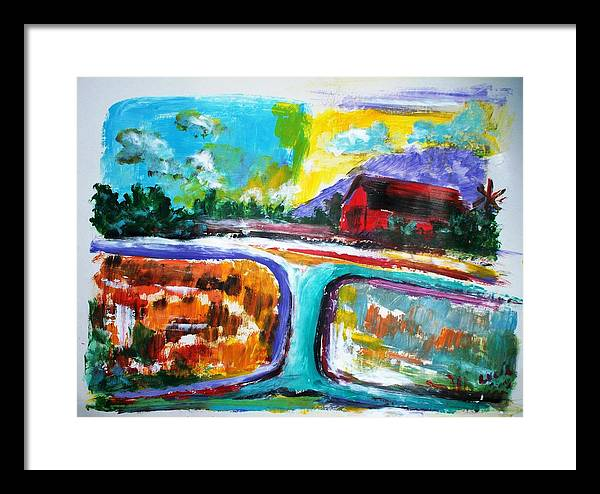 Abstract. Lamdscape.barns Framed Print featuring the print Country Mile by Carl Lucia