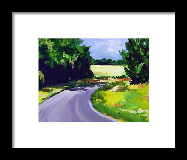 Road Framed Print featuring the painting Country Road by Outre Art Natalie Eisen