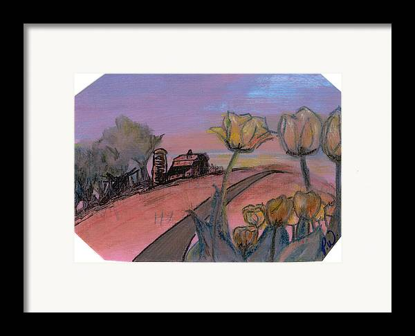 Watercolor Pencils Framed Print featuring the drawing Country Road by Pamela Wilson