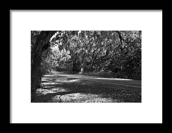 Black And White Photography Framed Print featuring the photograph Country Road by Wayne Denmark