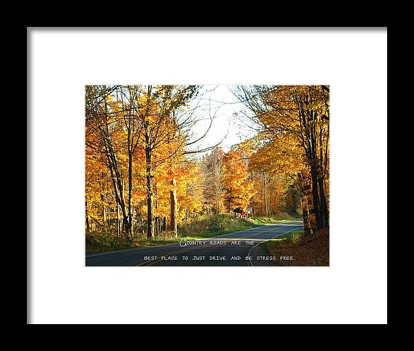 Road Framed Print featuring the photograph Country Roads by Beth Tidd