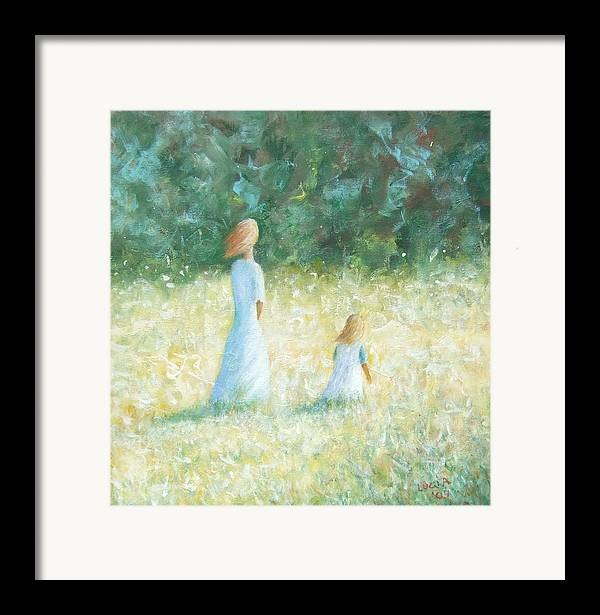 Mother And Child. Woods.fields. Sunlit Landscape. Framed Print featuring the print Country Walk by Carl Lucia