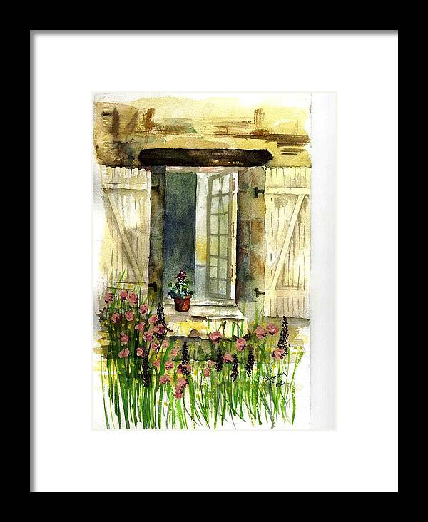 Window Framed Print featuring the painting Country Window by Sandi Stonebraker