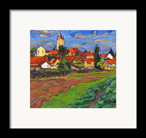 Landscape Framed Print featuring the painting Country With The Red Roofs by Vitali Komarov