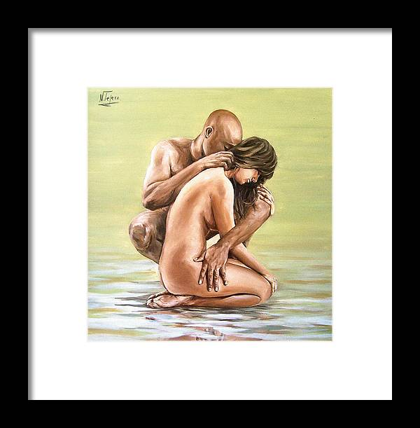 Nude Framed Print featuring the painting Couple by Natalia Tejera
