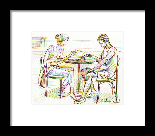 Woman Framed Print featuring the drawing Couple Reading by Natoly Art