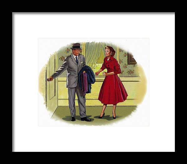 Retro Framed Print featuring the mixed media Couple by Lash Larue