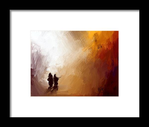 People Framed Print featuring the painting Couple Walking by Bruce Young