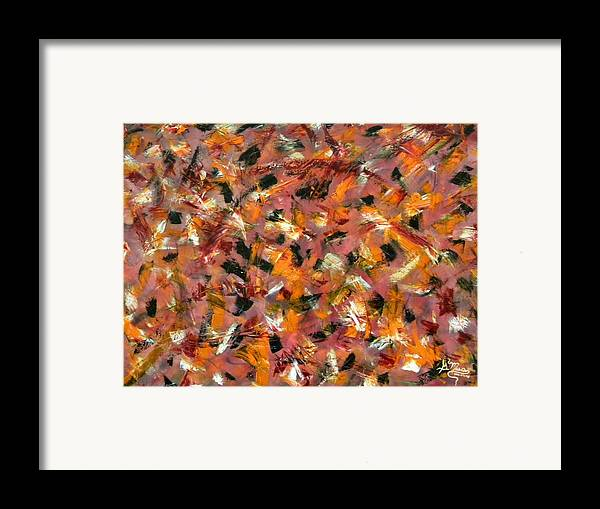 Abstract Framed Print featuring the painting Courage by Guillermo Mason