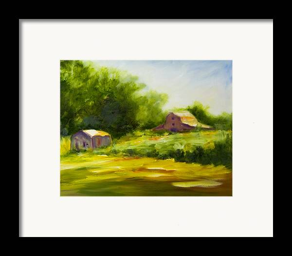Landscape In Green Framed Print featuring the painting Courage by Shannon Grissom