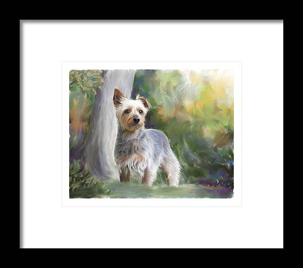 Dog Framed Print featuring the painting Courageous Curiosity by Connie Moses
